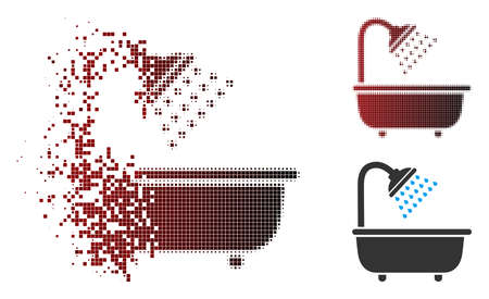 Vector bath shower icon in dispersed, pixelated halftone and undamaged solid variants. Disintegration effect uses rectangle scintillas and horizontal gradient from red to black. Illustration