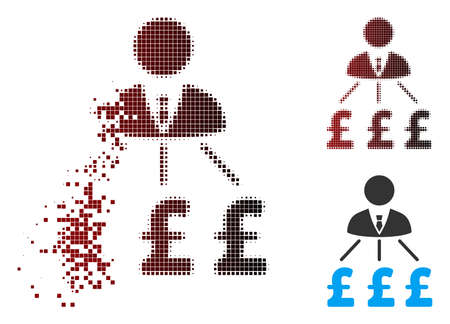 Vector businessman pound expenses icon in sparkle, dotted halftone and undamaged entire versions. Disintegration effect uses square particles and horizontal gradient from red to black.