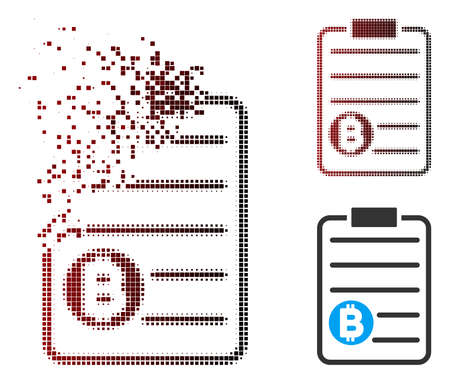 Vector Bitcoin price list icon in dispersed, dotted halftone and undamaged entire versions. Disappearing effect involves rectangle particles and horizontal gradient from red to black. Illustration