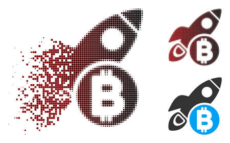 Vector Bitcoin rocket icon in sparkle, pixelated halftone and undamaged solid variants. Disappearing effect uses rectangle particles and horizontal gradient from red to black.