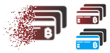 Vector Bitcoin banking cards icon in dissolved, pixelated halftone and undamaged whole versions. Disintegration effect involves rectangular sparks and horizontal gradient from red to black. Illustration