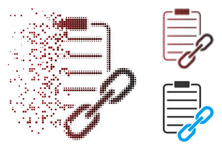 Vector blockchain contract icon in fractured, dotted halftone and undamaged solid versions. Disappearing effect uses rectangle scintillas and horizontal gradient from red to black.