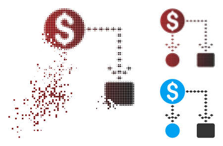 Vector cashflow scheme icon in fractured, pixelated halftone and undamaged solid variants. Disintegration effect involves rectangle particles and horizontal gradient from red to black. Illusztráció