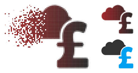 Vector cloud pound banking icon in fractured, pixelated halftone and undamaged whole variants. Disintegration effect involves square particles and horizontal gradient from red to black.