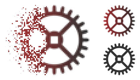 Vector clock gear icon in dispersed, dotted halftone and undamaged whole versions. Disintegration effect uses rectangular sparks and horizontal gradient from red to black.