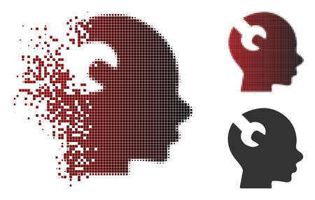 Vector brain wrench tool icon in dispersed, dotted halftone and undamaged whole versions. Disappearing effect involves rectangular particles and horizontal gradient from red to black. Illustration