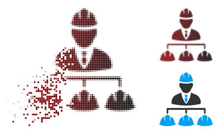 Vector builder management icon in dispersed, pixelated halftone and undamaged solid versions. Disintegration effect uses square particles and horizontal gradient from red to black.