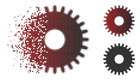 Vector cogwheel icon in sparkle, pixelated halftone and undamaged whole versions. Disappearing effect involves rectangle scintillas and horizontal gradient from red to black.