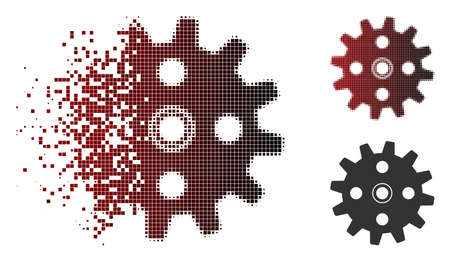 Vector cogwheel icon in dispersed, pixelated halftone and undamaged whole versions. Disappearing effect involves rectangular dots and horizontal gradient from red to black.
