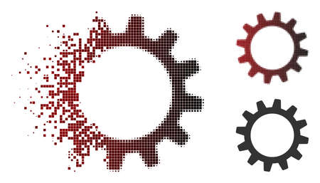 Vector cogwheel icon in dissolved, dotted halftone and undamaged whole variants. Disappearing effect involves square particles and horizontal gradient from red to black. Illusztráció