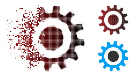 Vector cogwheel icon in fractured, dotted halftone and undamaged whole variants. Disappearing effect involves square dots and horizontal gradient from red to black.