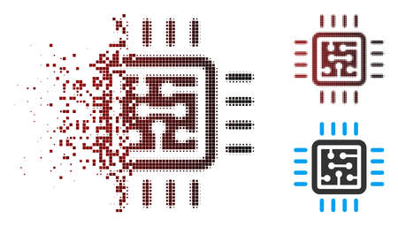 Vector CPU circuit icon in fractured, dotted halftone and undamaged solid variants. Disappearing effect involves square dots and horizontal gradient from red to black.