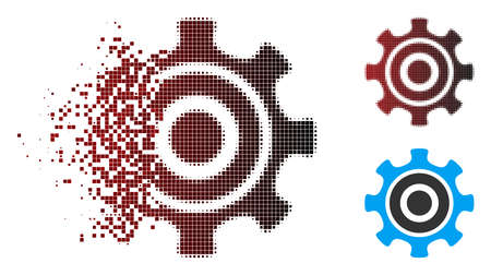 Vector cogwheel icon in dissolved, dotted halftone and undamaged solid versions. Disappearing effect involves rectangle dots and horizontal gradient from red to black.