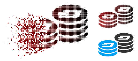 Vector Dash coin columns icon in dispersed, pixelated halftone and undamaged solid variants. Disappearing effect uses rectangle sparks and horizontal gradient from red to black.