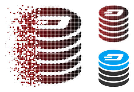 Vector Dash coin stack icon in dissolved, dotted halftone and undamaged solid variants. Disappearing effect uses rectangular scintillas and horizontal gradient from red to black.