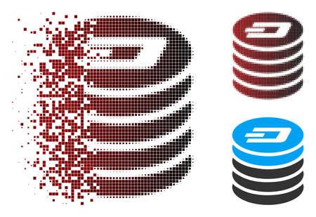 Icône de pile de pièces Vector Dash en demi-teintes dissoutes, en pointillés et en variantes solides intactes. L'effet de disparition utilise des scintillas rectangulaires et un dégradé horizontal du rouge au noir.