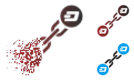 Vector Dash blockchain icon in dispersed, pixelated halftone and undamaged solid variants. Disappearing effect involves rectangular particles and horizontal gradient from red to black.
