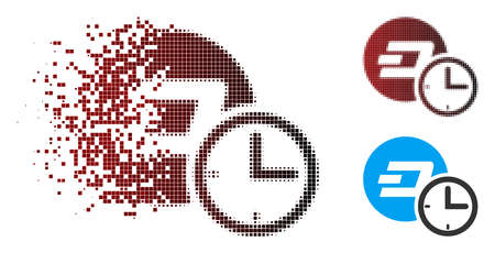 Vector Dash credit counter icon in sparkle, pixelated halftone and undamaged entire variants. Disappearing effect involves rectangle sparks and horizontal gradient from red to black.