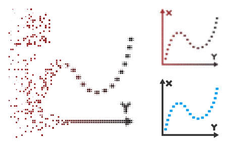 Vector dotted function graph icon in sparkle, pixelated halftone and undamaged solid versions. Disappearing effect uses rectangular particles and horizontal gradient from red to black.
