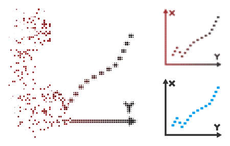 Vector dotted function plot icon in dissolved, pixelated halftone and undamaged entire variants. Disintegration effect involves rectangle sparks and horizontal gradient from red to black.