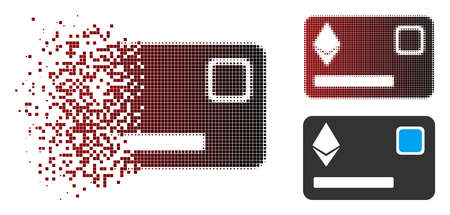 Vector Ethereum credit card icon in dispersed, dotted halftone and undamaged solid versions. Disappearing effect involves rectangle scintillas and horizontal gradient from red to black.  イラスト・ベクター素材
