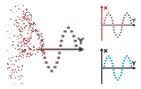 Vector dotted sinusoid plot icon in dissolved, pixelated halftone and undamaged whole versions. Disintegration effect involves rectangular particles and horizontal gradient from red to black. Vetores