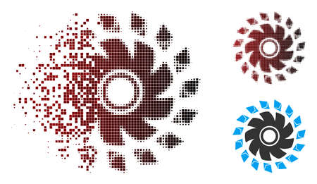Vector Ethereum propeller icon in dissolved, pixelated halftone and undamaged solid variants. Disappearing effect uses rectangular dots and horizontal gradient from red to black.