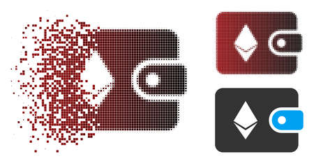 Vector Ethereum billfold icon in dissolved, dotted halftone and undamaged entire variants. Disintegration effect uses rectangular dots and horizontal gradient from red to black.