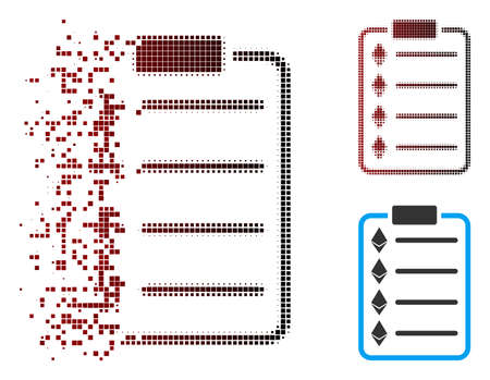 Vector Ethereum list pad icon in dissolved, dotted halftone and undamaged solid versions. Disintegration effect involves rectangle scintillas and horizontal gradient from red to black.