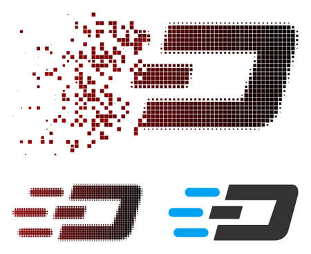 Vector fast send Dash icon in fractured, pixelated halftone and undamaged solid variants. Disintegration effect involves rectangle dots and horizontal gradient from red to black.