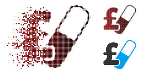 Vector farma pound business icon in sparkle, pixelated halftone and undamaged whole versions. Disappearing effect involves rectangular particles and horizontal gradient from red to black.