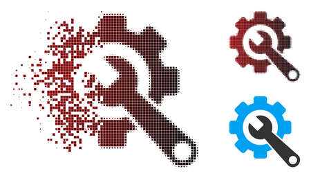 Vector gear and wrench icon in sparkle, dotted halftone and undamaged entire versions. Disappearing effect involves square particles and horizontal gradient from red to black.