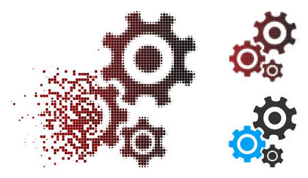 Vector gear mechanism icon in sparkle, pixelated halftone and undamaged entire versions. Disappearing effect uses rectangular scintillas and horizontal gradient from red to black.