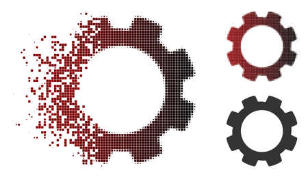 Vector gear icon in sparkle, pixelated halftone and undamaged whole variants. Disappearing effect involves rectangular dots and horizontal gradient from red to black.