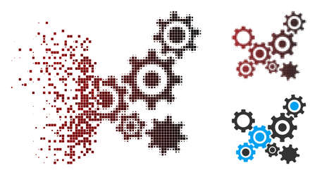 Vector gears mechanism icon in fractured, pixelated halftone and undamaged whole variants. Disappearing effect uses rectangle particles and horizontal gradient from red to black. 矢量图像