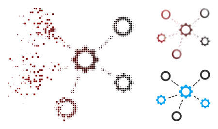 Vector gears relations icon in fractured, dotted halftone and undamaged solid variants. Disappearing effect uses rectangle scintillas and horizontal gradient from red to black.
