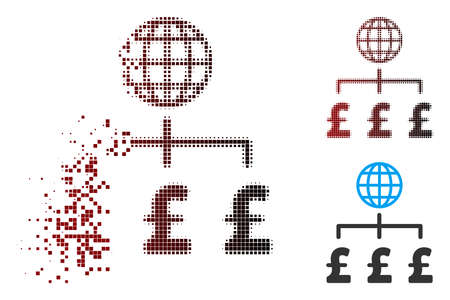 Vector global pound payments icon in dissolved, pixelated halftone and undamaged entire variants. Disappearing effect involves square sparks and horizontal gradient from red to black.