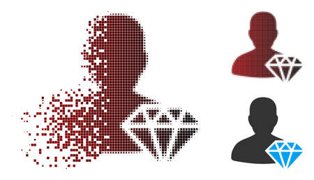 Vector goldsmith icon in sparkle, pixelated halftone and undamaged entire variants. Disappearing effect uses square particles and horizontal gradient from red to black.