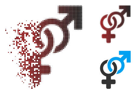 Vector heterosexual symbol icon in dispersed, pixelated halftone and undamaged entire variants. Disappearing effect involves square sparks and horizontal gradient from red to black.