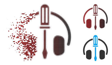 Vector headphones tuning screwdriver icon in fractured, pixelated halftone and undamaged whole variants. Disappearing effect involves rectangular sparks and horizontal gradient from red to black.