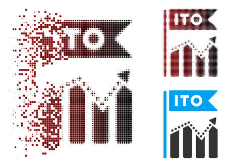 Vector ITO chart icon in dispersed, pixelated halftone and undamaged entire variants. Disappearing effect uses rectangle particles and horizontal gradient from red to black.