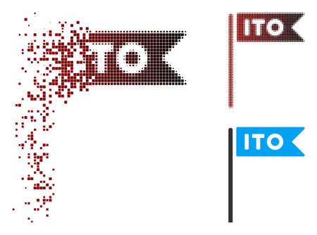 Vector ITO flag icon in fractured, pixelated halftone and undamaged whole versions. Disappearing effect involves rectangle particles and horizontal gradient from red to black.