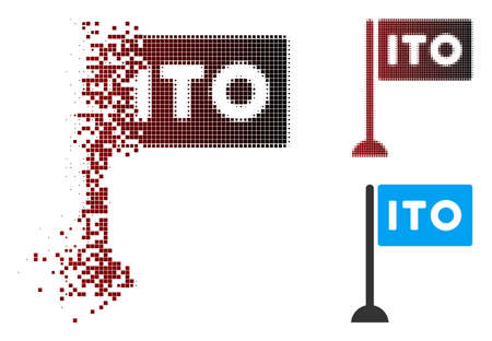 Vector ITO rectange flag icon in sparkle, pixelated halftone and undamaged solid versions. Disintegration effect uses square sparks and horizontal gradient from red to black.