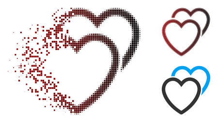 Vector love hearts icon in sparkle, dotted halftone and undamaged whole variants. Disintegration effect uses square particles and horizontal gradient from red to black.