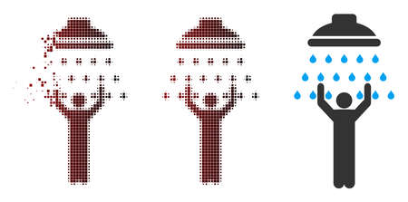 Vector man under shower icon in fractured, pixelated halftone and undamaged whole variants. Disappearing effect uses square particles and horizontal gradient from red to black.