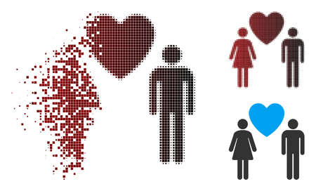 Vector love persons icon in sparkle, pixelated halftone and undamaged entire variants. Disappearing effect involves rectangular sparks and horizontal gradient from red to black.