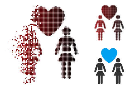 Vector lesbi love pair icon in fractured, dotted halftone and undamaged entire variants. Disappearing effect involves rectangular scintillas and horizontal gradient from red to black. Illustration