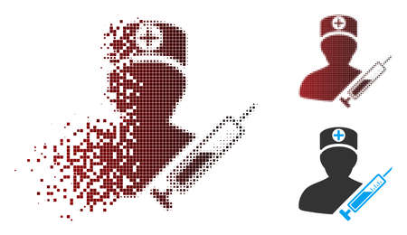 Vector medic icon in sparkle, dotted halftone and undamaged solid versions. Disappearing effect uses rectangular sparks and horizontal gradient from red to black.