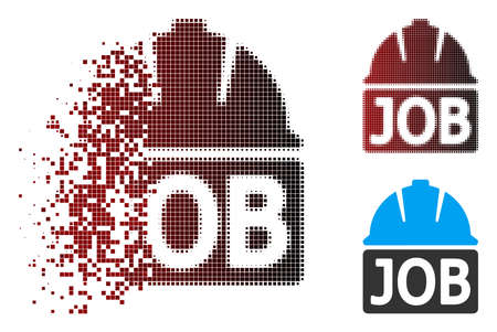 Vector job icon in fractured, pixelated halftone and undamaged solid versions. Disintegration effect involves square sparks and horizontal gradient from red to black.