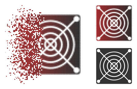 Vector mining ASIC hardware icon in dissolved, dotted halftone and undamaged whole versions. Disintegration effect involves square dots and horizontal gradient from red to black.